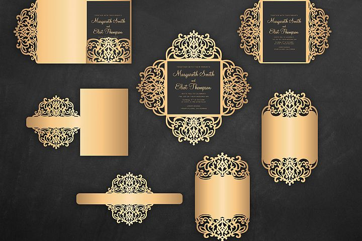 Laser cut wedding invitation Set, 5x7, Cricut Template, Gate Fold, Tri fold pocket Envelope, Bellyband - SVG, DXF, Cricut, Silhouette Cameo