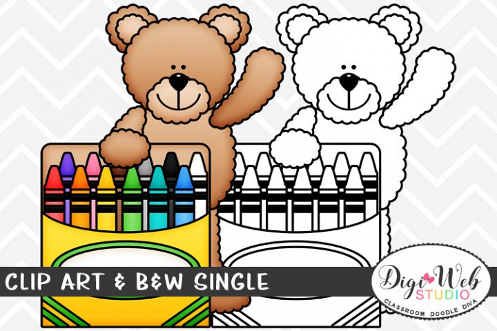 Clip Art & B&W Single - Teddy Bear With A Box of Crayons