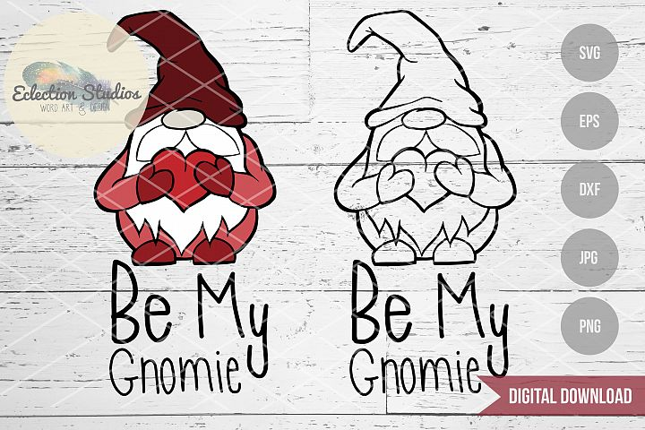 Gnome Valentine, Be My Gnomie, Gnome SVG