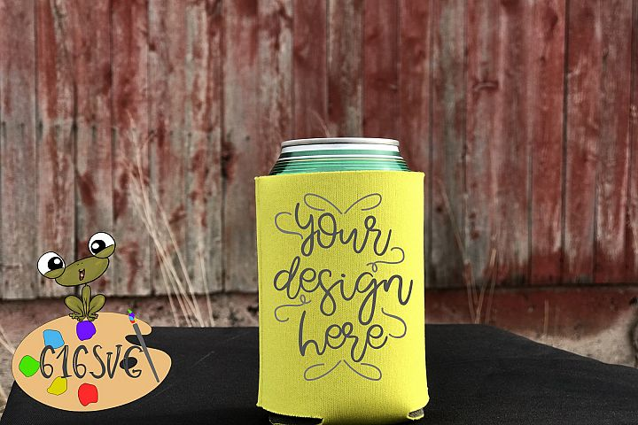 Yellow Can Cooler Mockup