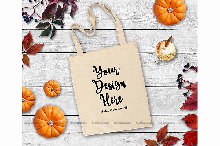 Fall Tote Bag Mock Up White Canvas Tote Pumpkin Flat Lay