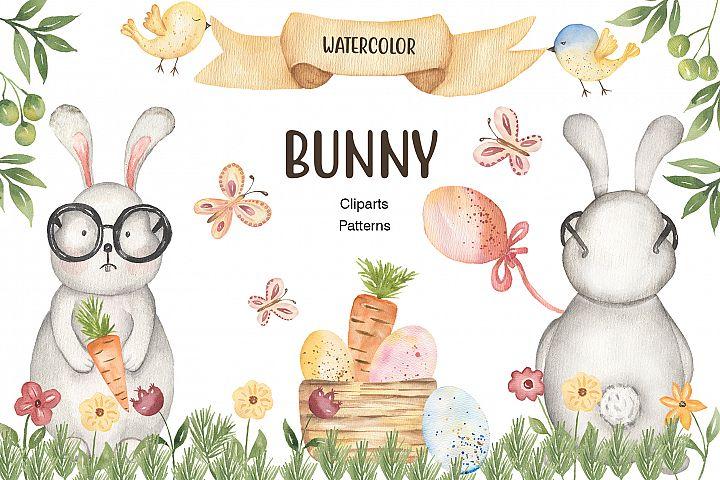 Watercolor Spring Bunny