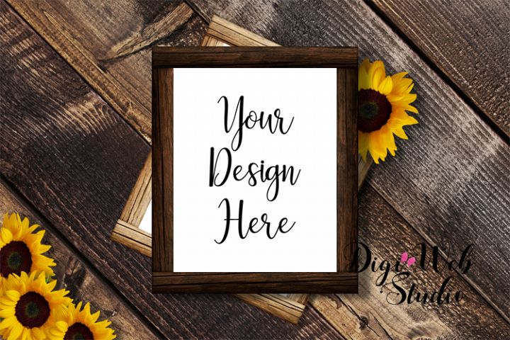 Flat Lay Wood Signs Mockup - Wood Frames w/ Sunflowers