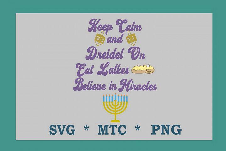 SVG Hanukkah Keep Calm Quote Design #03 Cut File