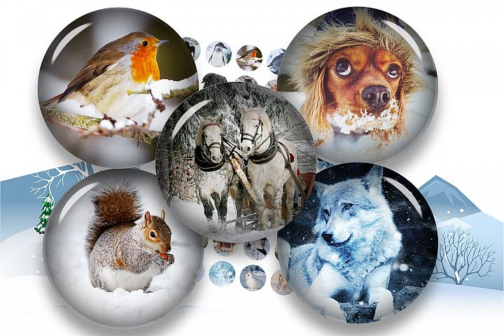 Winter Animals Collage Sheet,Winter Cabochon,Round Pendant