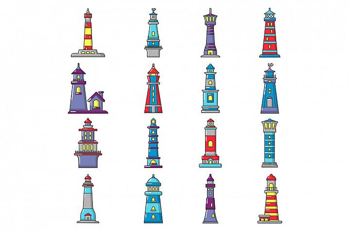 Lighthouse icons set, cartoon style