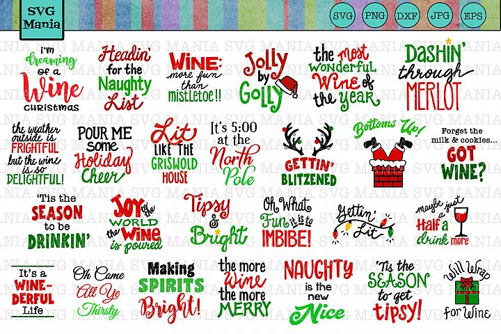 Funny Christmas Wine Glass SVG File Bundle, Holiday Wine SVG