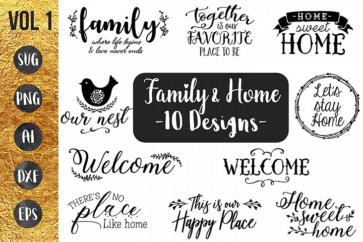 FAMILY & HOME- 10 designs - svg cut files Cricut Silhouette