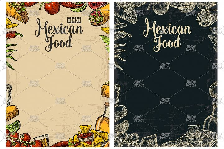 Mexican traditional food restaurant menu engraved