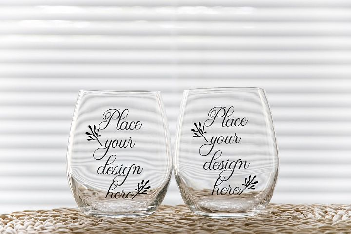 2 no stem tumbler mockup Two stemless wine glass mockups
