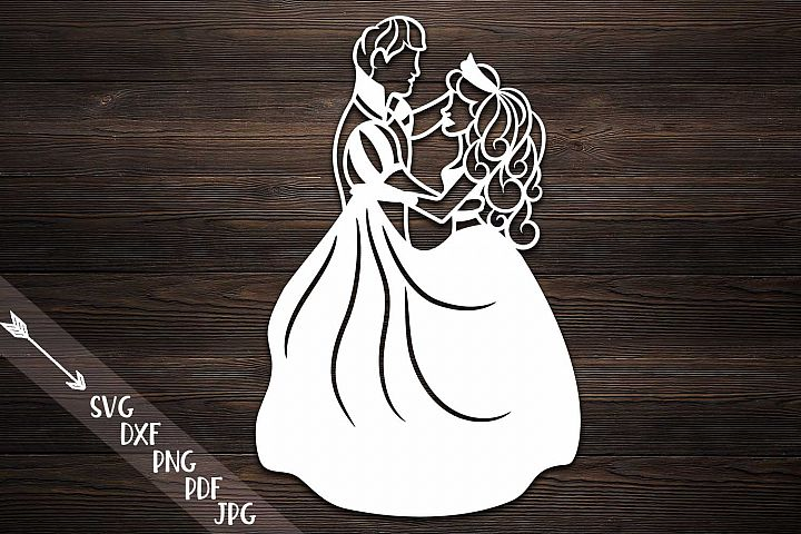 Couple papercutting template, bride and groom svg