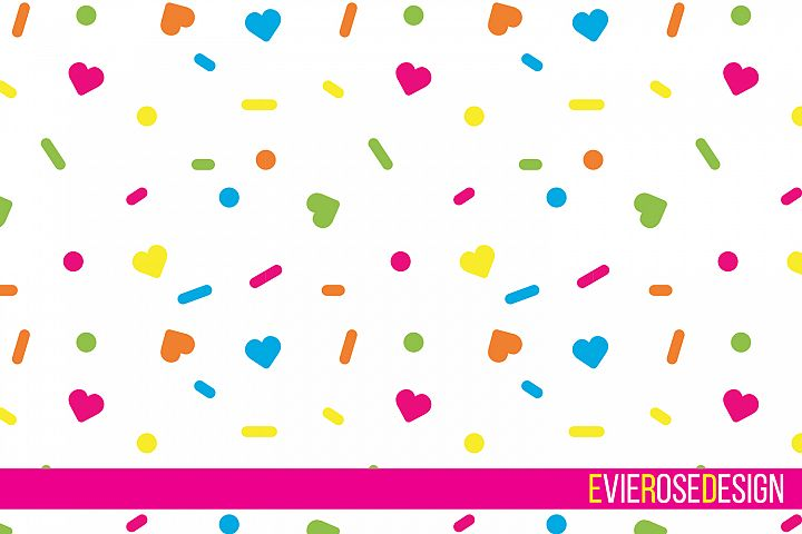 Rainbow Sprinkles Confetti Cut File Set With Digital Paper