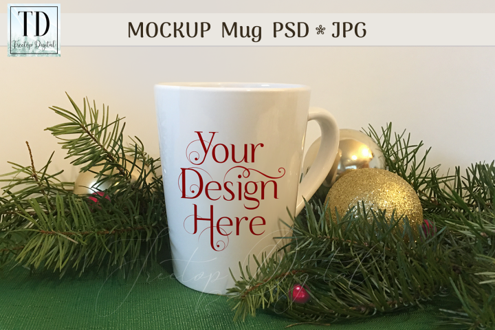 Mug Mockup with Christmas Tree Branches, PSD JPG Cup Mock-Up
