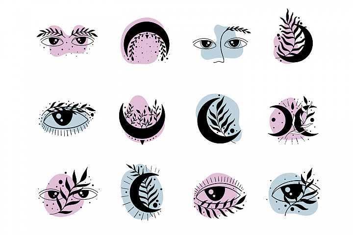 Icon symbol mystic.Eyes and moon.
