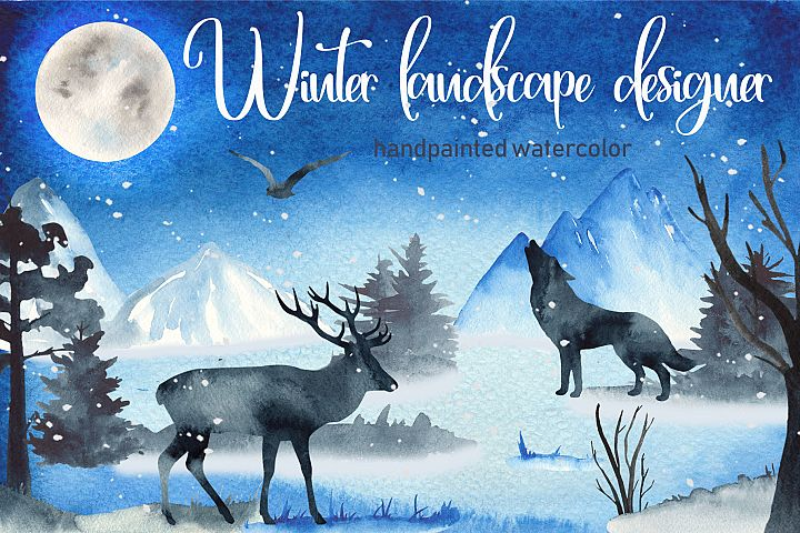Winter ladscape watercolor clipart Silhouette deer and wolf