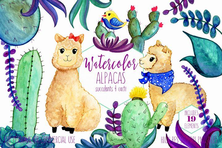 WATERCOLOR LLAMAS & CACTUS Clipart Llama Clip Art Cute Alpacas Succulents Cacti Plants Hand Drawn Clipart Kawaii Llama Graphics