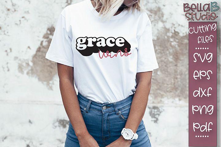Grace Wins SVG File, Christian SVG, Shadowed SVG Design