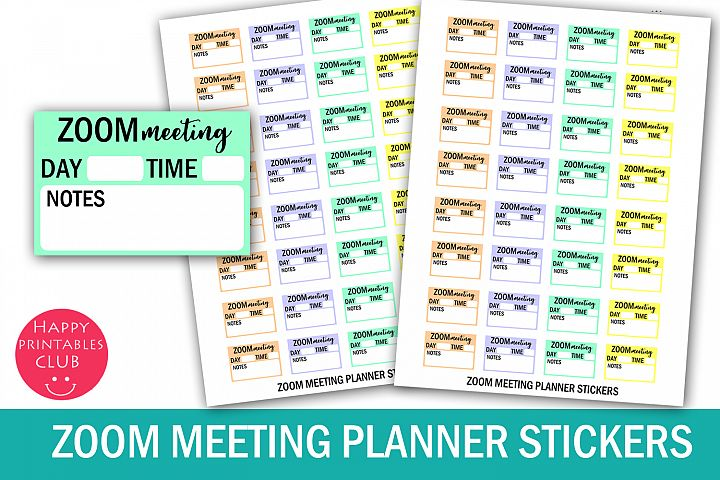 Zoom Meeting Planner Stickers- Zoom Reminder Meeting Sticker