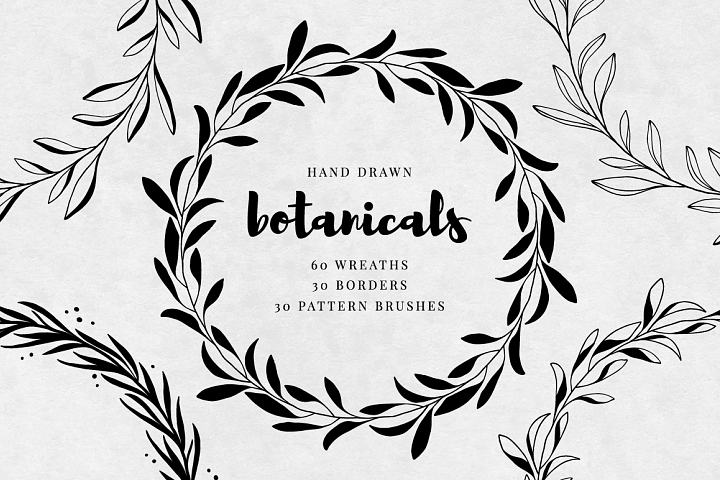 Hand Drawn Wreaths, Borders and Pattern Brushes