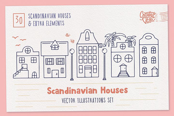 Scandinavian Houses Free Vector Images