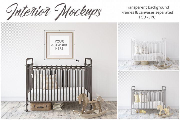 Metal crib. Wall&Frames Mockup.