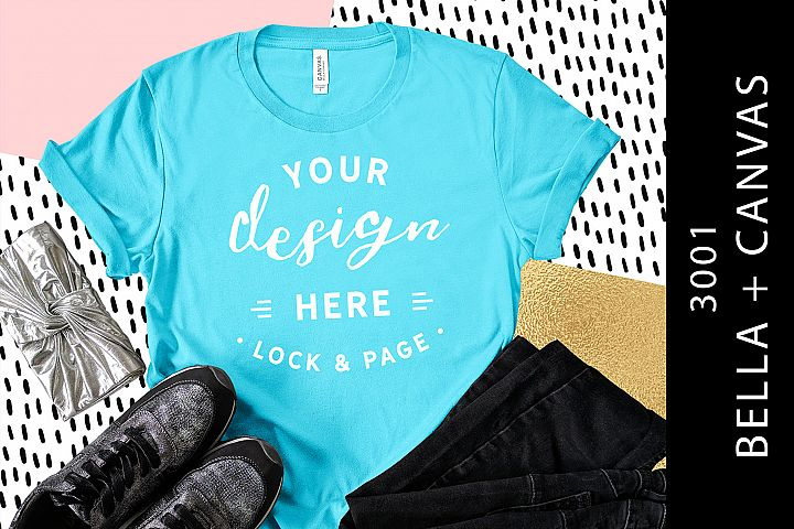 Aqua Bella Canvas 3001 T-Shirt Mockup Fashion Blog Flat Lay