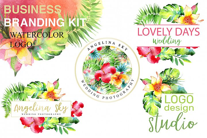 LOGO with bright tropical flowers Watercolor png