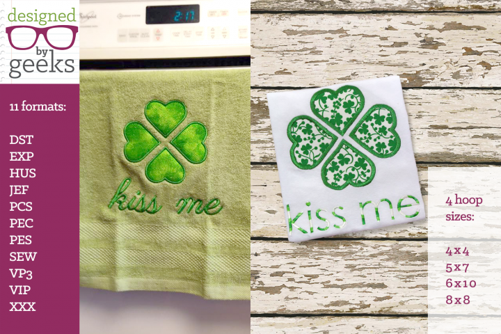 Kiss Me Large Clover St. Pattys Day Applique Embroidery Duo