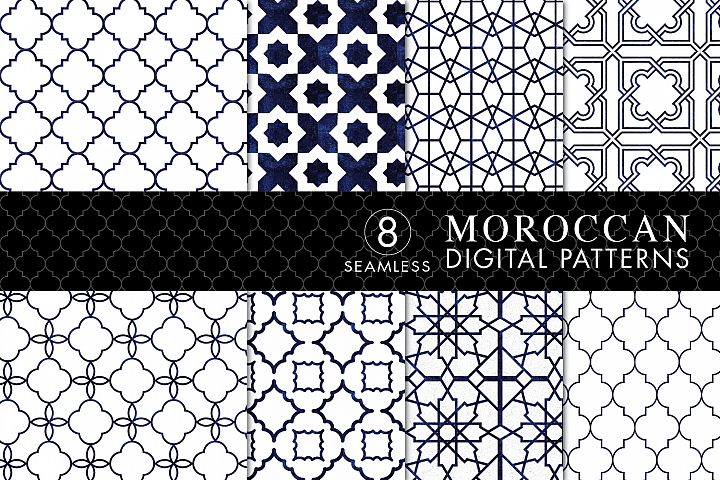 8 Seamless Moroccan Patterns - White & Blue Watercolor Set 2