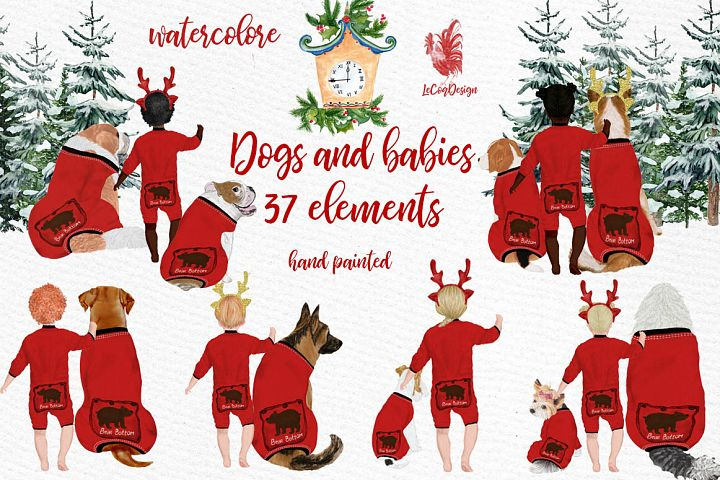 DOGS CLIPART, Baby clipart, Christmas clipart, Cute babies