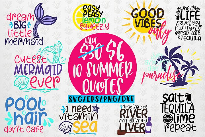 Summer And Mermaid Svg Bundles - 10 Svg EPS DXF PNG Cut File