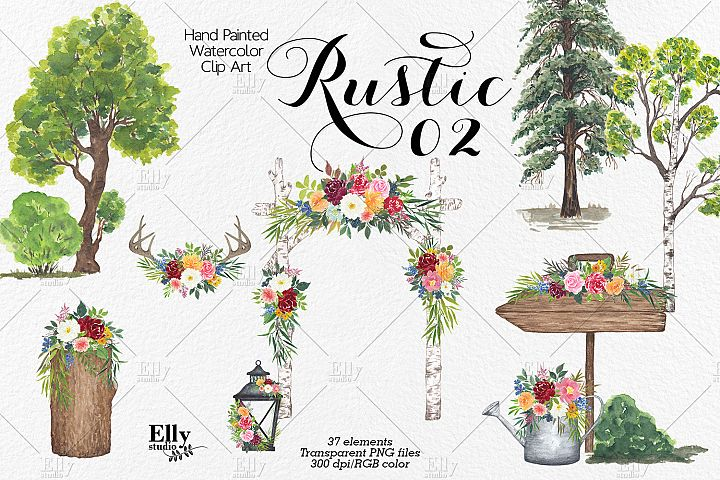 Rustic Watercolor Graphic Set