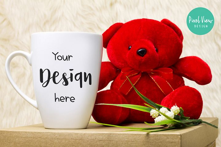 Blank White Coffee Mug Mock up with Red Bear