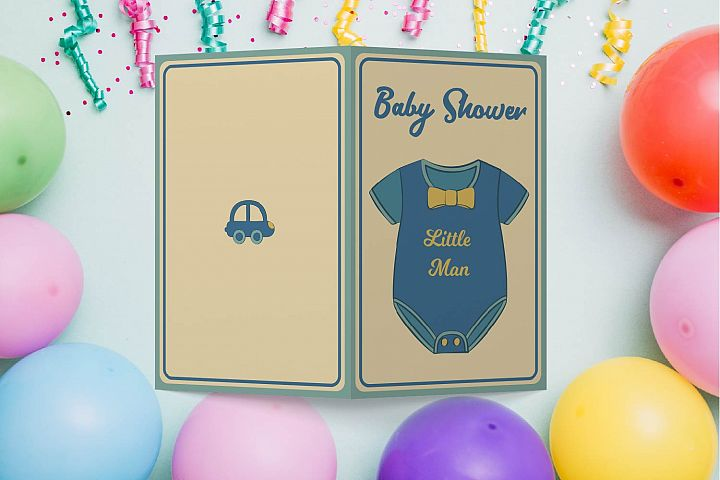 Baby Boy Shower Cards Printable, JPEG, PDF, Vector