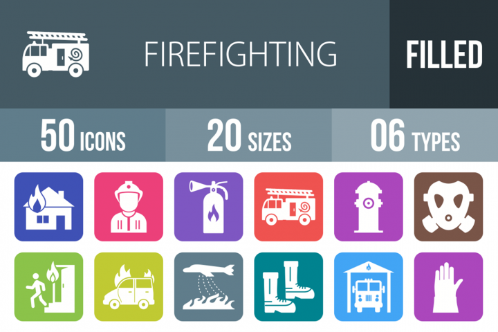 50 Firefighting Filled Round Icons