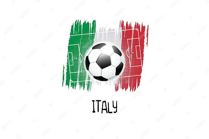 Football background with soccer ball. Team Italy.