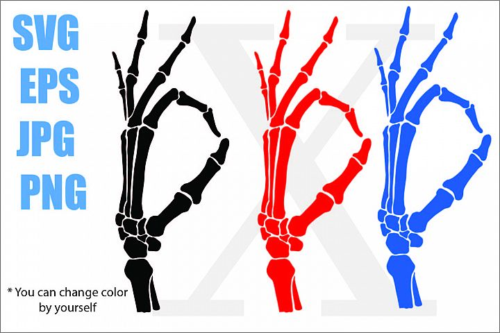 Skeleton Hand OK - SVG-EPS-JPG-PNG
