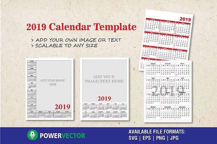 2019 Calendar Templates Collection