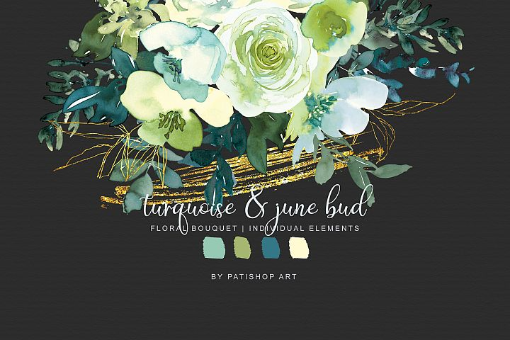 Watercolor Turquoise & June Bud Clipart