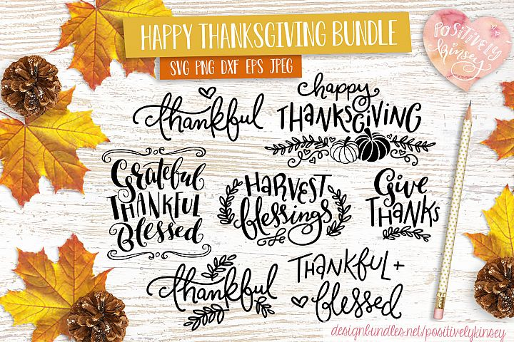 Happy Thanksgiving SVG Bundle! 7 Thanksgiving Quote Designs