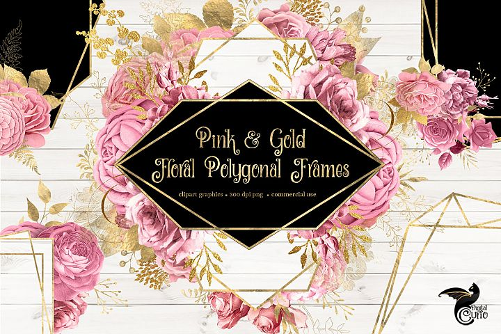 Pink and Gold Floral Polygonal Frames Clipart