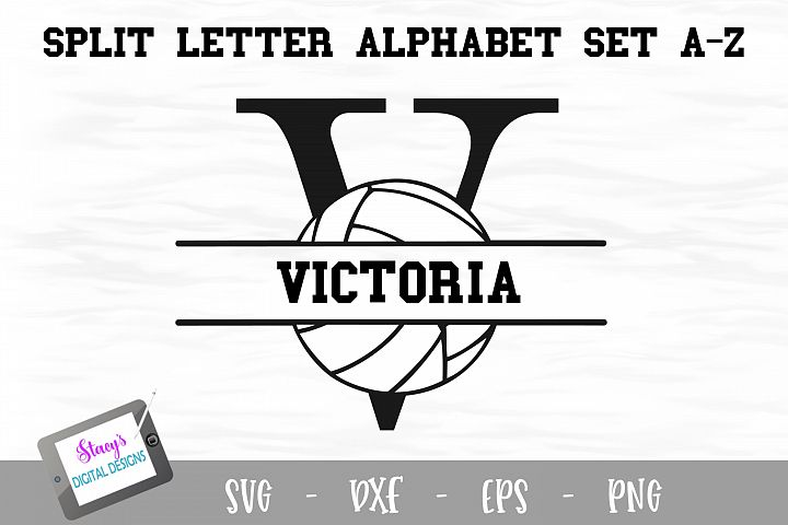 Split Letters A-Z - 26 Split Monogram Volleyball SVG