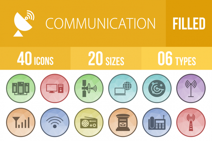 40 Communication Filled Low Poly Icons