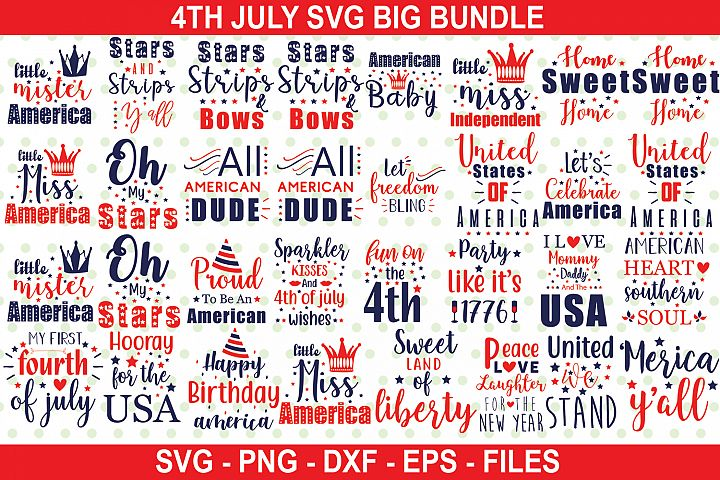 4th July| 40 4th JulySVG Big Bundle|SVG|DXF|PNG|EPS