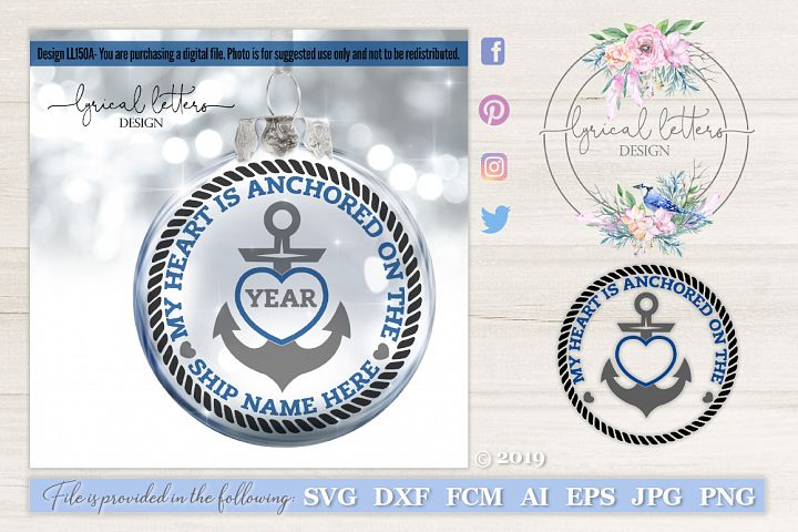 My Heart is Anchored Deployment Military SVG DXF LL150A