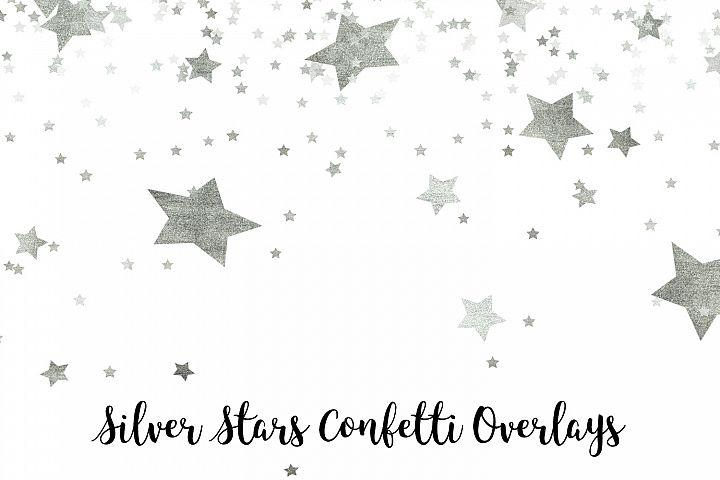 Silver Stars Confetti Overlays