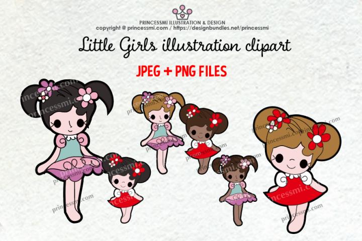 Little Girls illustration clipart set