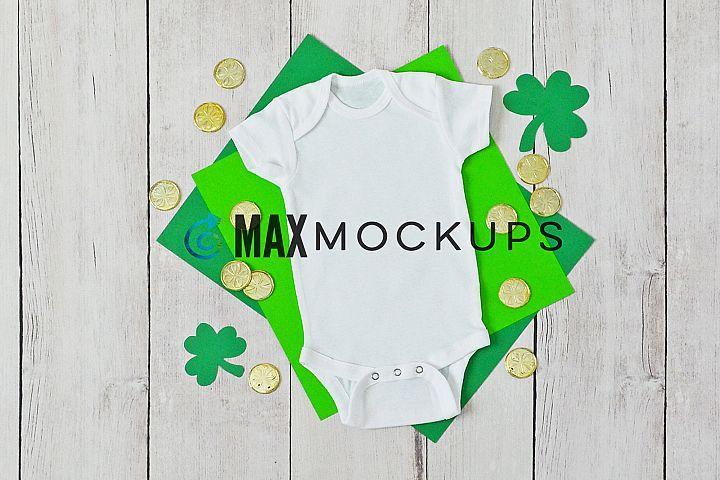 Baby bodysuit Mockup, St Patricks Day shamrocks, flatlay