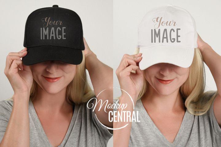 Baseball Hat Mockup, Mock Up Hat on Woman JPG
