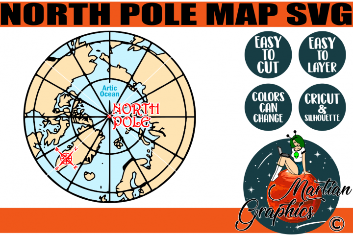 North Pole Map - A Christmas SVG